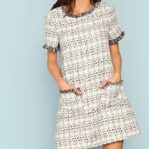 Dresses & Skirts - Frayed Edge Pocket Front Tweed Dress